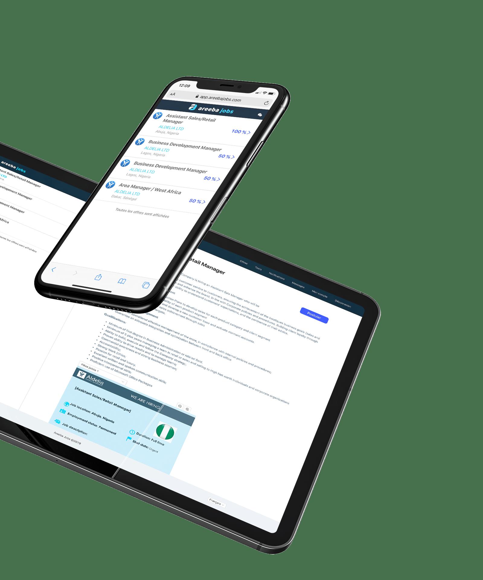 Mockup tablette et mobile Areeba Jobs