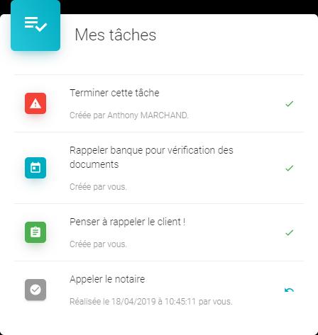 Tâches application Actelo - produit Log'in Line